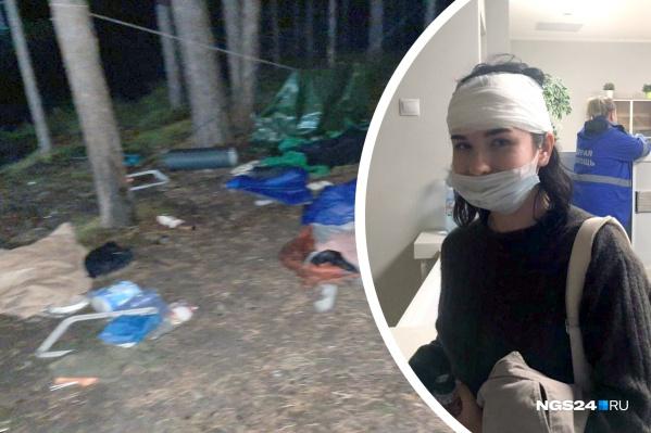 Слева — разорённый палаточный лагерь активистов, справа — одна из пострадавших, Дарья Чужакова, она получила травму головы