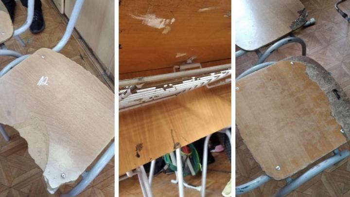 «Ходят с порванными штанами»: ученики в красноярской школе ужаснулись разломанной мебели