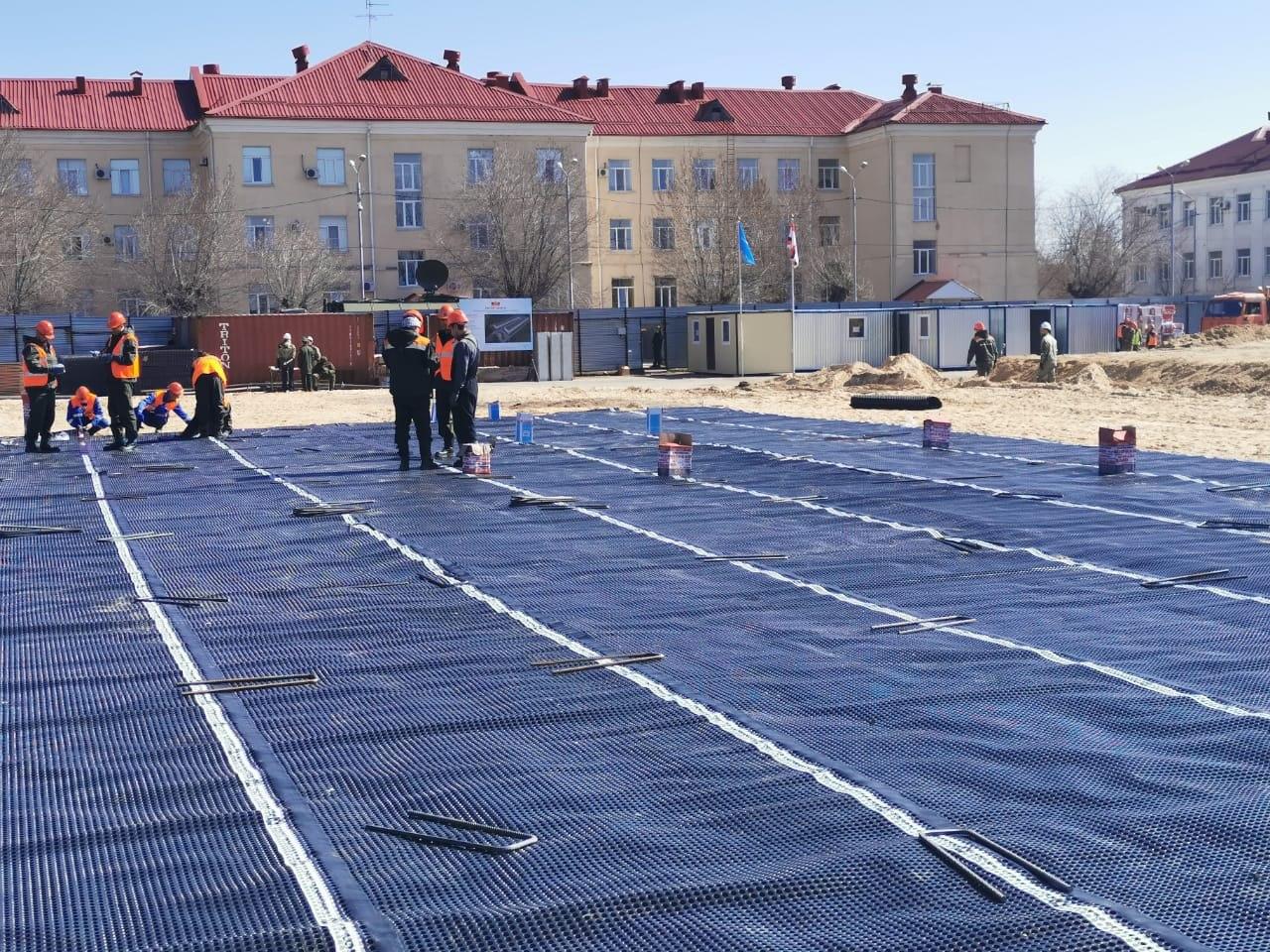 В Волгограде готовят площадку для бетонного монолитного основания госпиталя