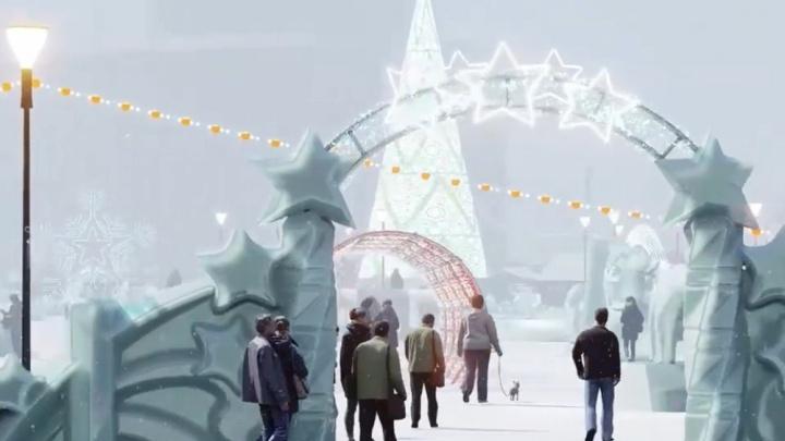 Каким будет главный ледовый городок Челябинска, показали на видео с прогулкой между скульптурами