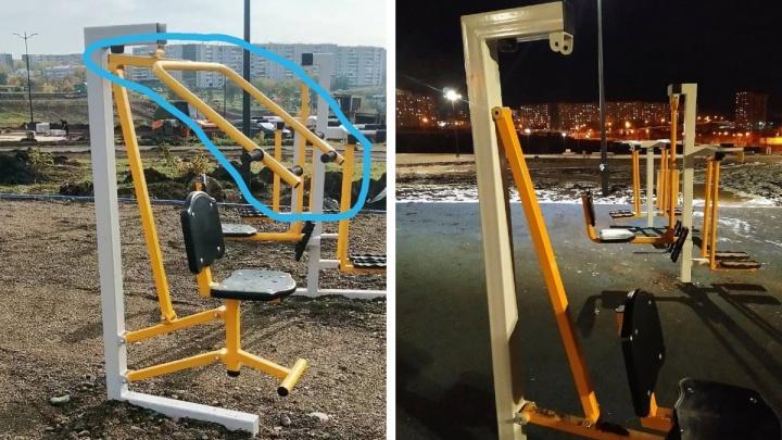 В «путинском» парке в Солнечном разобрали уличные тренажеры