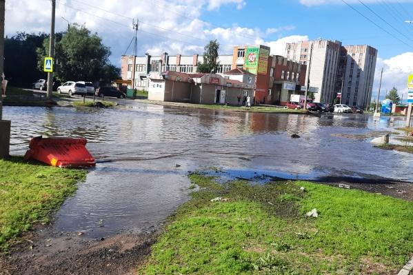 Из-за сильного дождя затопило Галушина