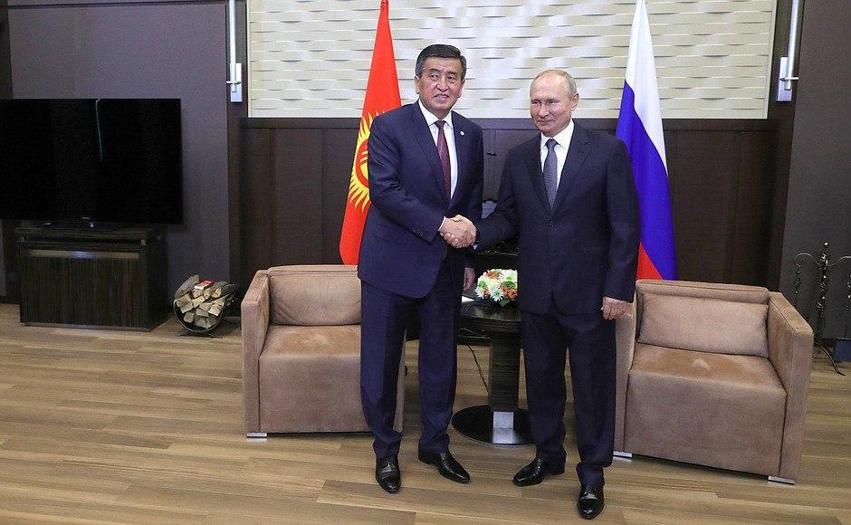Сооронбай Жээнбеков и Владимир Путин в Сочи, 28 сентября 2020 года<br>