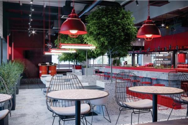 Красный цвет будет доминирующим и в интерьере заведения