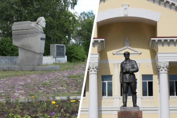 Слева — памятник Роману Куликову, справа — Павлину Виноградову
