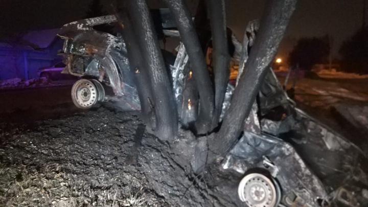 В Екатеринбурге «четырнадцатая» врезалась в дерево и загорелась