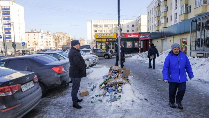 В центре Уфы выросла гора мусора
