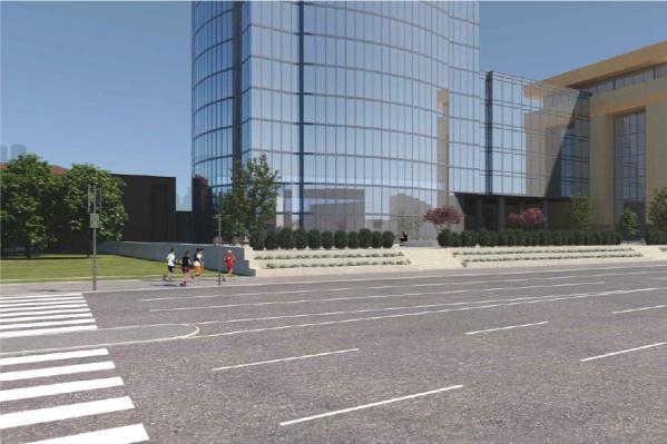 Схема проезжей части возле БЦ «Высоцкий, в левой части снимка виден дополнительный «островок» для пешеходов