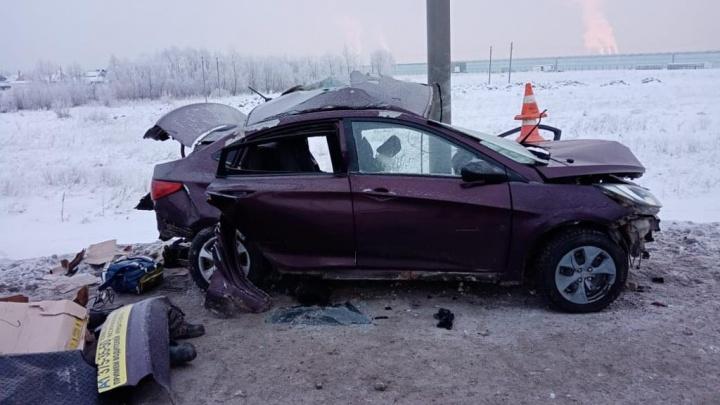 Водитель влетел в столб: на трассе под Новосибирском погибли два человека