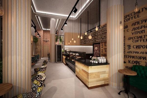 Дизайн кофейнисделан в натуральном стиле: светлое дерево, металл, кирпич, много зелени