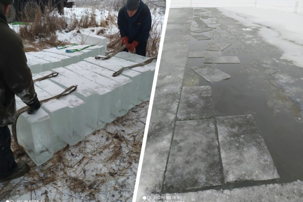 Так выглядит процесс заготовки ледовых брусков