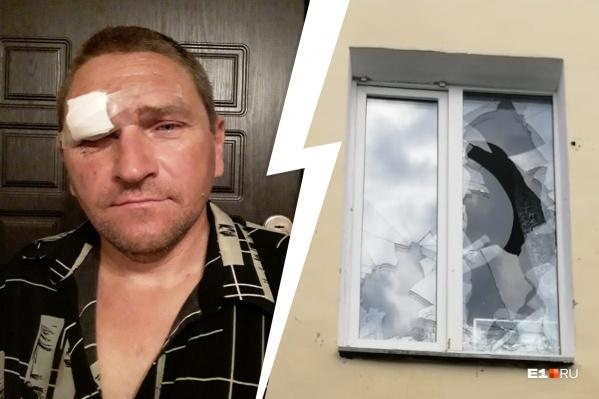 Дебошир камнями разбил окно соседки своей сожительницы
