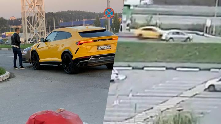 Момент столкновения Skoda со спорткаром Lamborghini в Екатеринбурге попал на видео