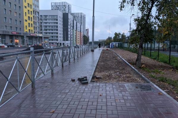 Велодорожка на улице Революции возникает словно из ниоткуда