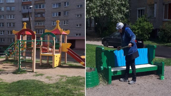 «Докрашивают»: в мэрии Ярославля рассказали о судьбе «псевдоотремонтированной» детской площадки