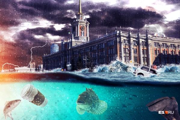 Из-за непрекращающихся ливней в Екатеринбурге тонули машины