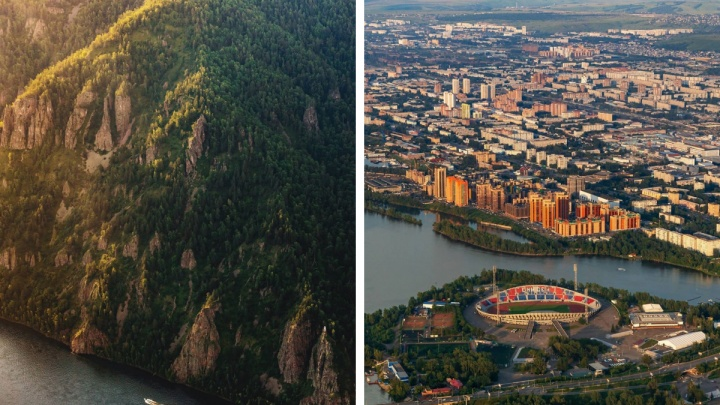 Фотограф полетал над Красноярском и окрестностями на маленьком самолете. Публикуем поразительные фото