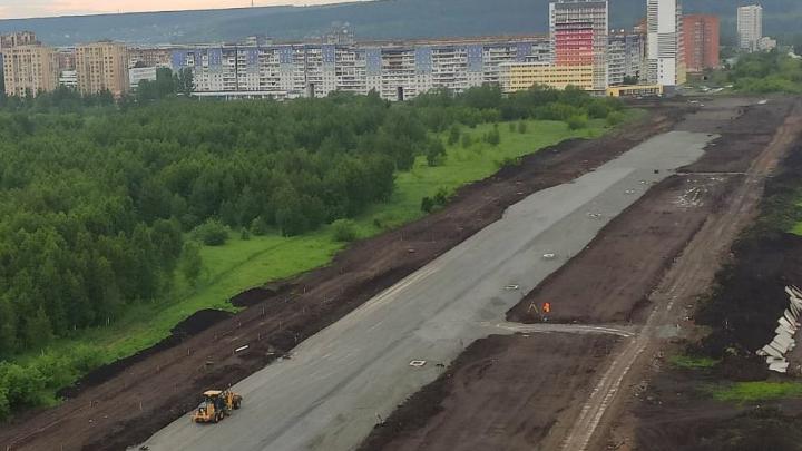 Строительство новой шестиполосной дороги в Кемерово сняли на видео