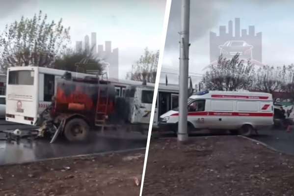Очевидцы ДТП сообщают, что автобус врезался в машину дорожных рабочих