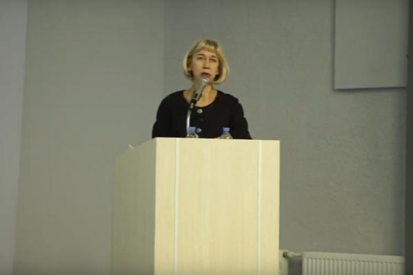 Лариса Александровна во время защиты диссертации на соискание ученой степени кандидата биологических наук в 2018 году<br>