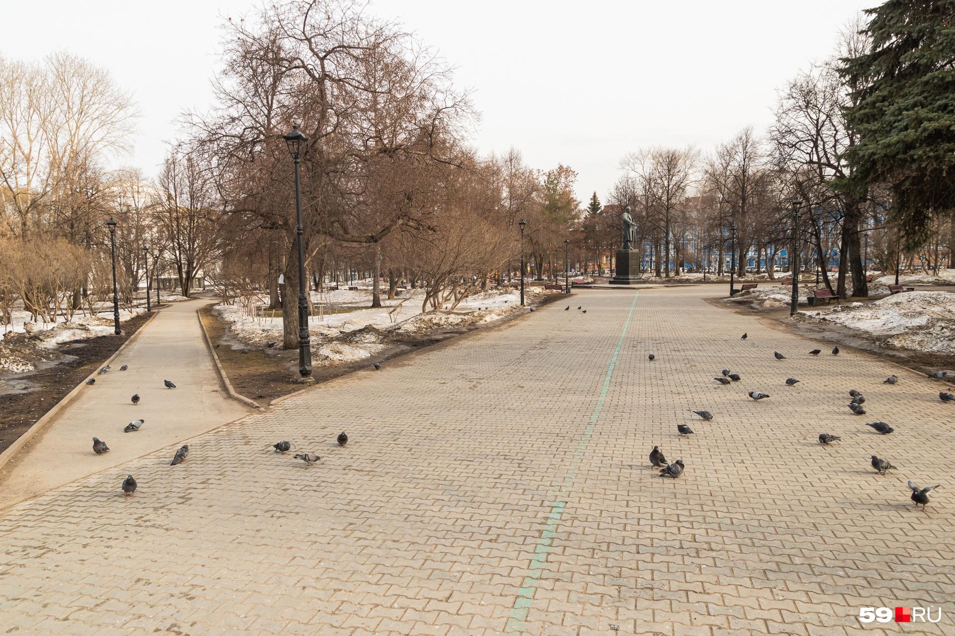 И только голуби гуляют по Театральному скверу