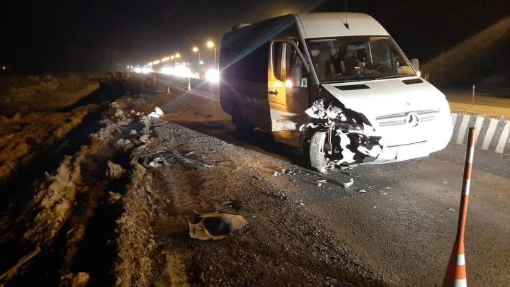 На тюменской трассе пьяный водитель легковушки влетел в автобус с туристами