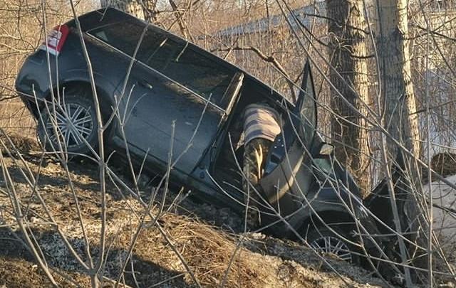 На Большевистской минивэн слетел с дороги и врезался в дерево