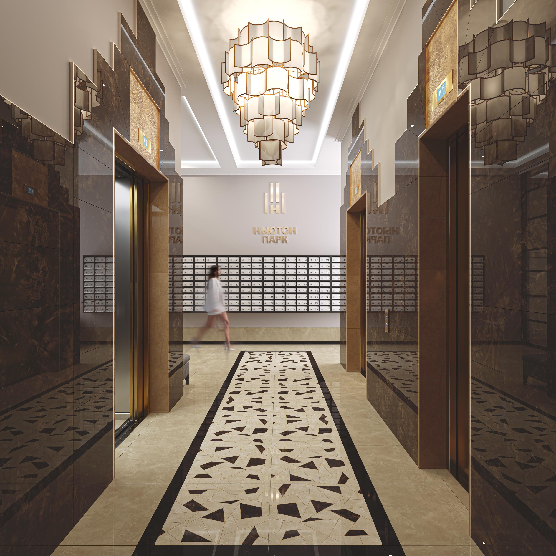 Интерьер холла в четвертом доме напоминает театральные коридоры