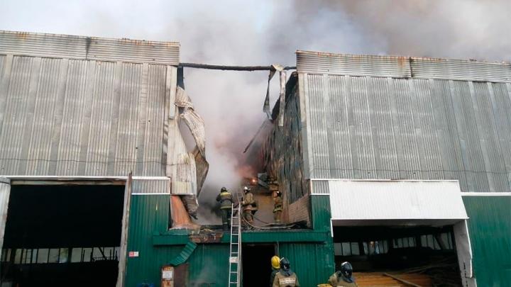 На юге Красноярского края на 5 тысячах квадратов выгорел склад пиломатериалов