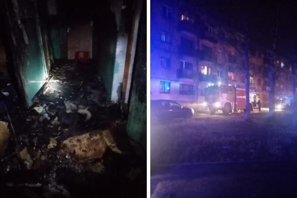 Огнем повреждена комната, общий коридор и кухня<br>