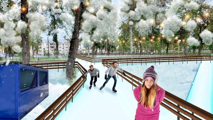 В челябинском парке зальют ледовые дорожки. Катком займётся компания, работавшая на Красной площади