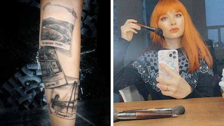 Девушка сделала тату с видами Красноярска перед отъездом в Сочи
