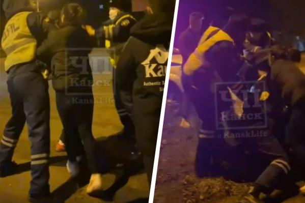 Драку полиции и местной молодёжи снял один из участников конфликта