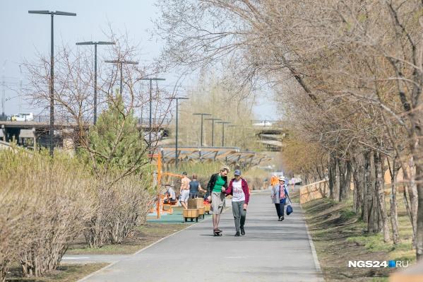 Красноярцы предпочитают гулять в такую погоду, несмотря на коронавирус