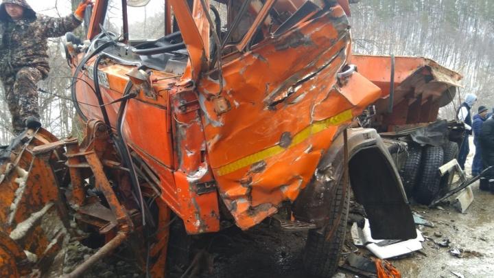 Кабины разворотило: в Самарской области на трассе столкнулись три грузовика