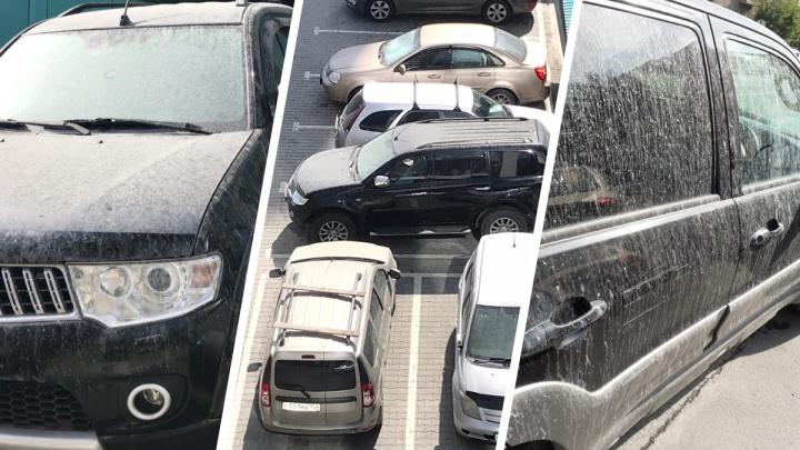 С элитной стройки в Новосибирске на машины вылился странный раствор, который невозможно отмыть