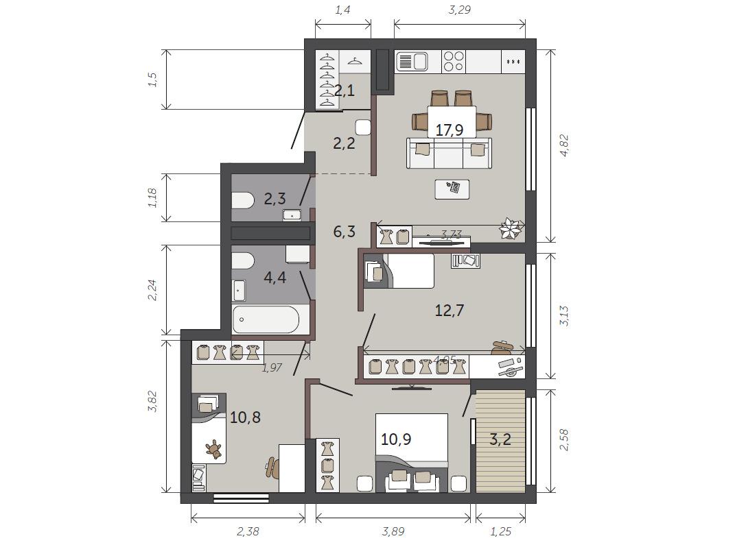 Большая кухня-гостиная станет местом притяжения всей семьи