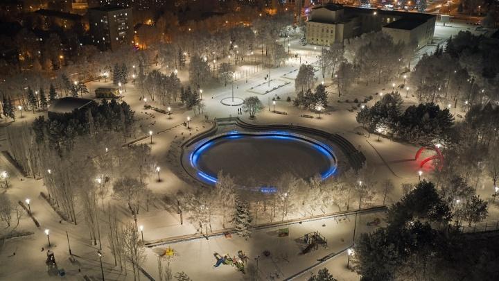 Уфимцы сняли зимний парк Первомайский с высоты птичьего полета