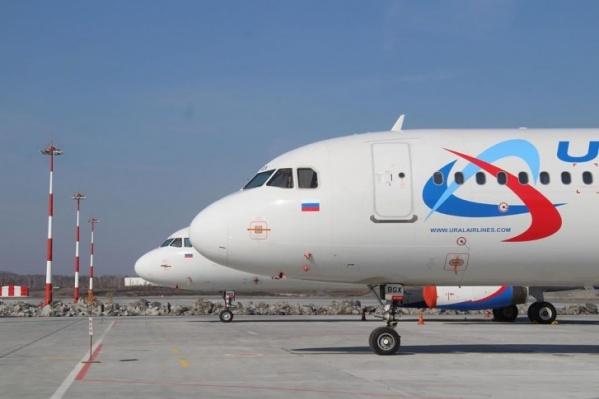 В Кольцово было припарковано 16 Airbus разных модификаций.
