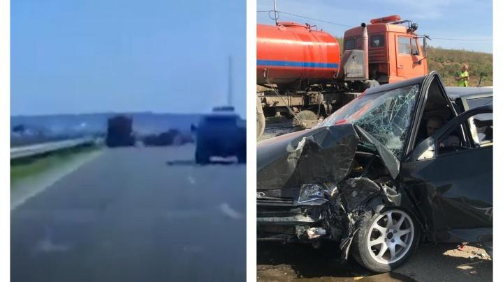 Водитель КАМАЗа ехал со скоростью 5 км/ч: появилось видео ДТП на Челябинском тракте