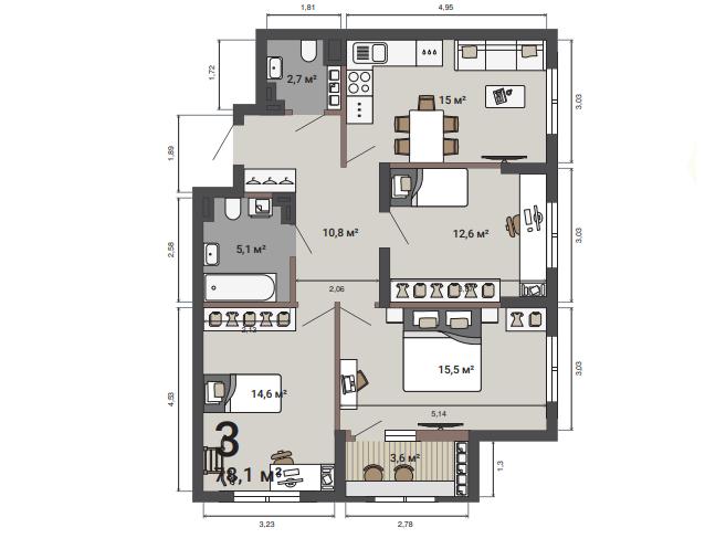 В такой квартире каждому хватит места, чтобы организовать личное пространство
