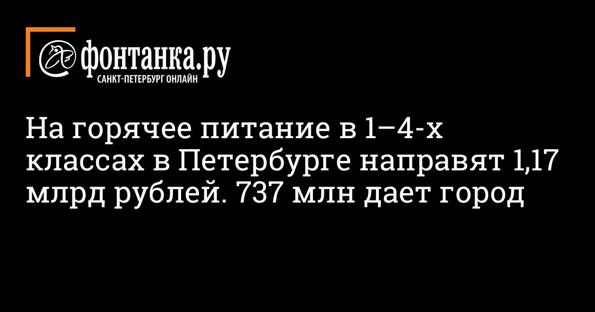 На горячее питание в 1–4-х классах в Петербурге направят 1,17 млрд рублей. 737 млн дает город