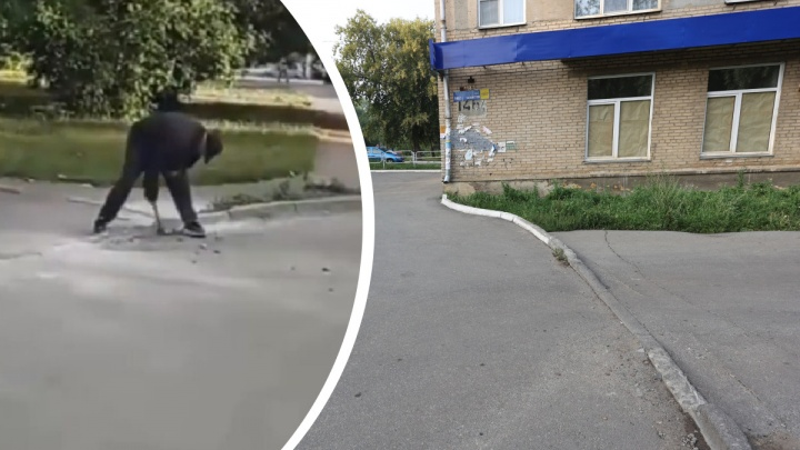 Мешал проезду: в Челябинске мужчина разбил молотком бордюр