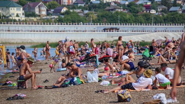 Август, что ты творишь?! Знойный фоторепортаж UFA1.RU с самого популярного уфимского пляжа