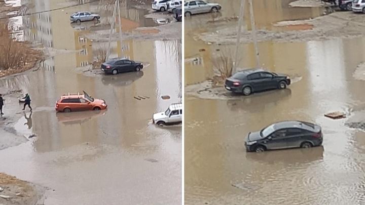 На Лесобазе «воскресла» легендарная лужа, в которой тонут автомобили