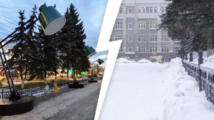 Из центра Челябинска снова пропали гигантские настольные лампы