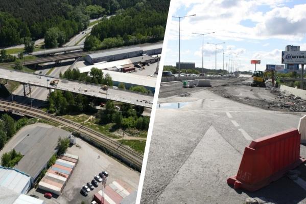 Блюхеровский мост (слева) откроют к 25 августа, развязку на Луганской — Объездной (справа) в сентябре