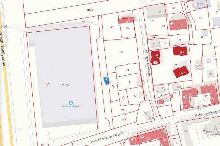 Проезд на кадастровой карте обозначен синим значком