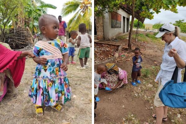 Африканские детишки в новой обуви