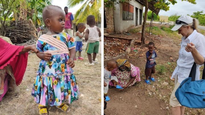 Жительница Красноярска привезла в Занзибар обувь и подарила ее детям Танзании